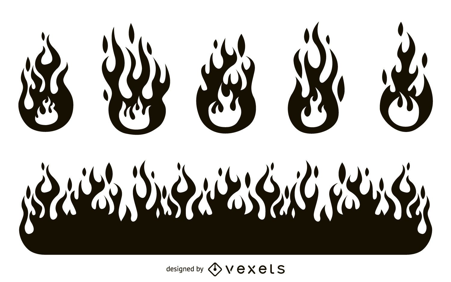 Fire flame silhouette set - Vector download