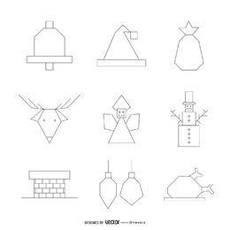 Paquete de contorno de iconos de Navidad geométrica