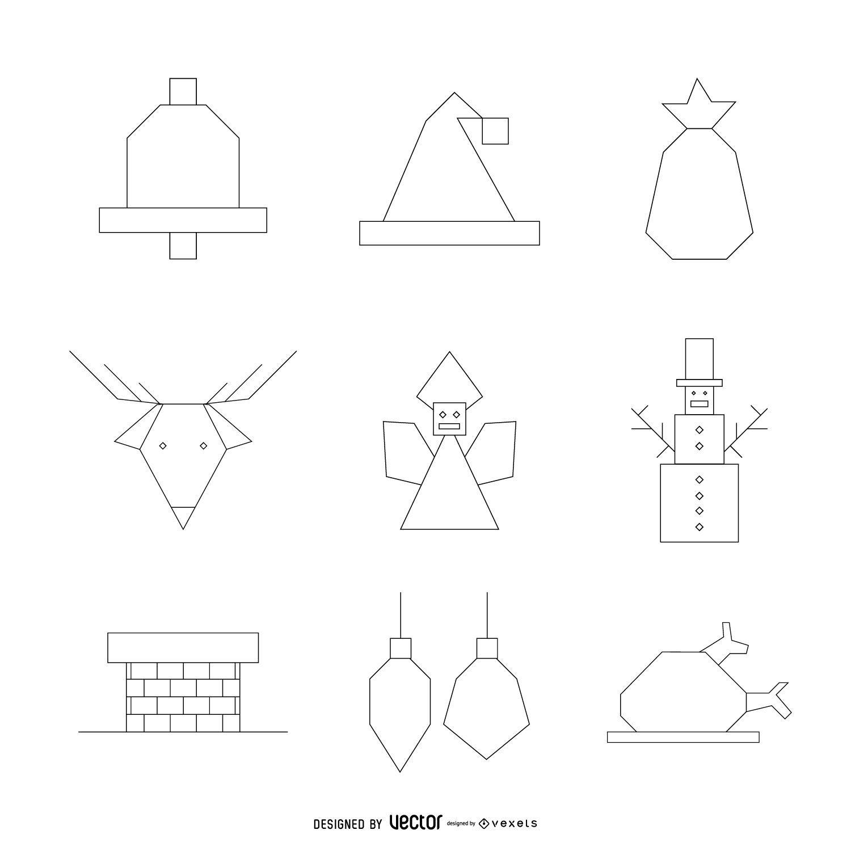 Paquete de contorno de iconos de Navidad geom?trica