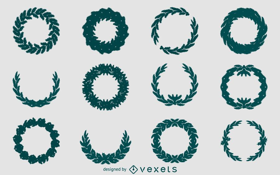 Christmas Wreath Silhouette Vector.Christmas Wreath Silhouette Set Vector Download