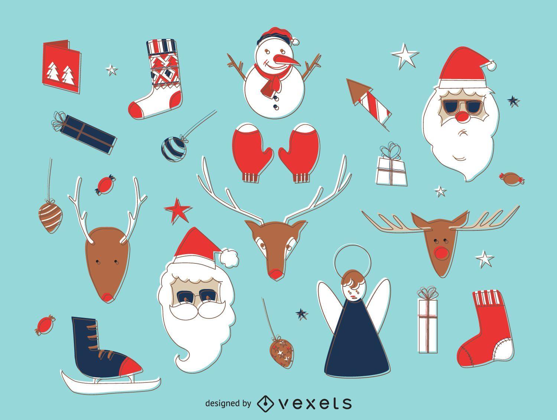 Conjunto de elementos de compensación de Navidad dibujados a mano