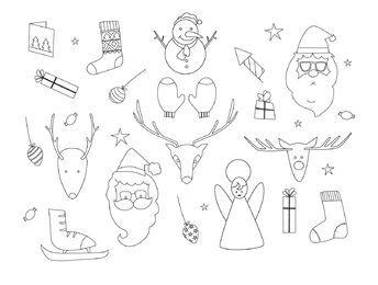 Conjunto de contorno de elementos de Navidad dibujados a mano