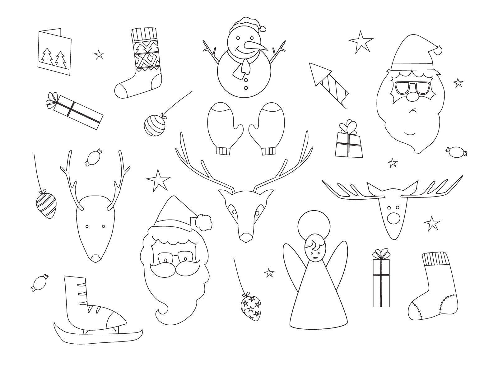 Conjunto de contorno de elementos navide?os dibujados a mano