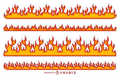 Cartoon fire flame illustration set