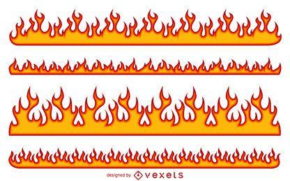 Conjunto de ilustración de llama de fuego de dibujos animados