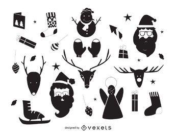 dibujado a mano elementos de Navidad siluetas