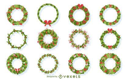 Flache Weihnachtskranz-Illustrationssammlung