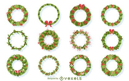 Flat Christmas wreath illustration collection