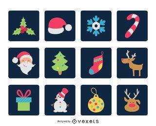 Conjunto de iconos cuadrados de Navidad plana