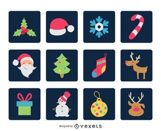 Flat Christmas square icon set