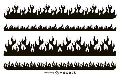 Conjunto de silhueta de fogo