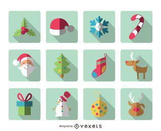 Flat Christmas rounded square icon pack