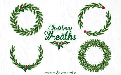 Conjunto de ilustración de corona de Navidad
