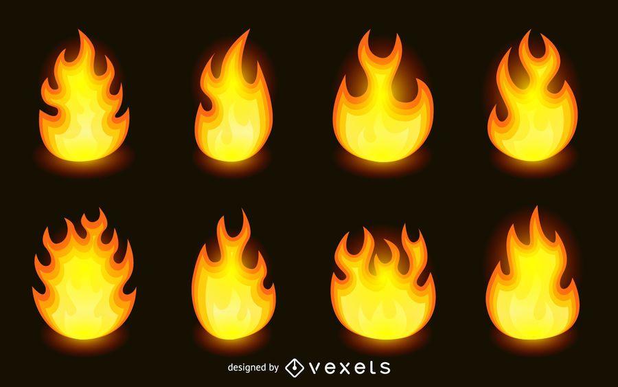 Conjunto de llamas de fuego aislado