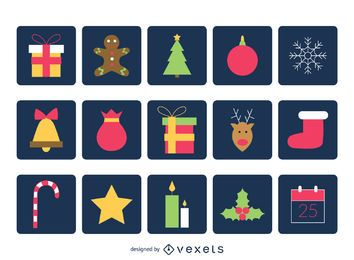 Christmas square icon collection