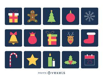 Colección de iconos cuadrados de navidad