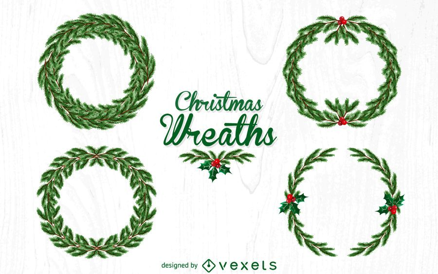 4 Christmas wreath illustration set