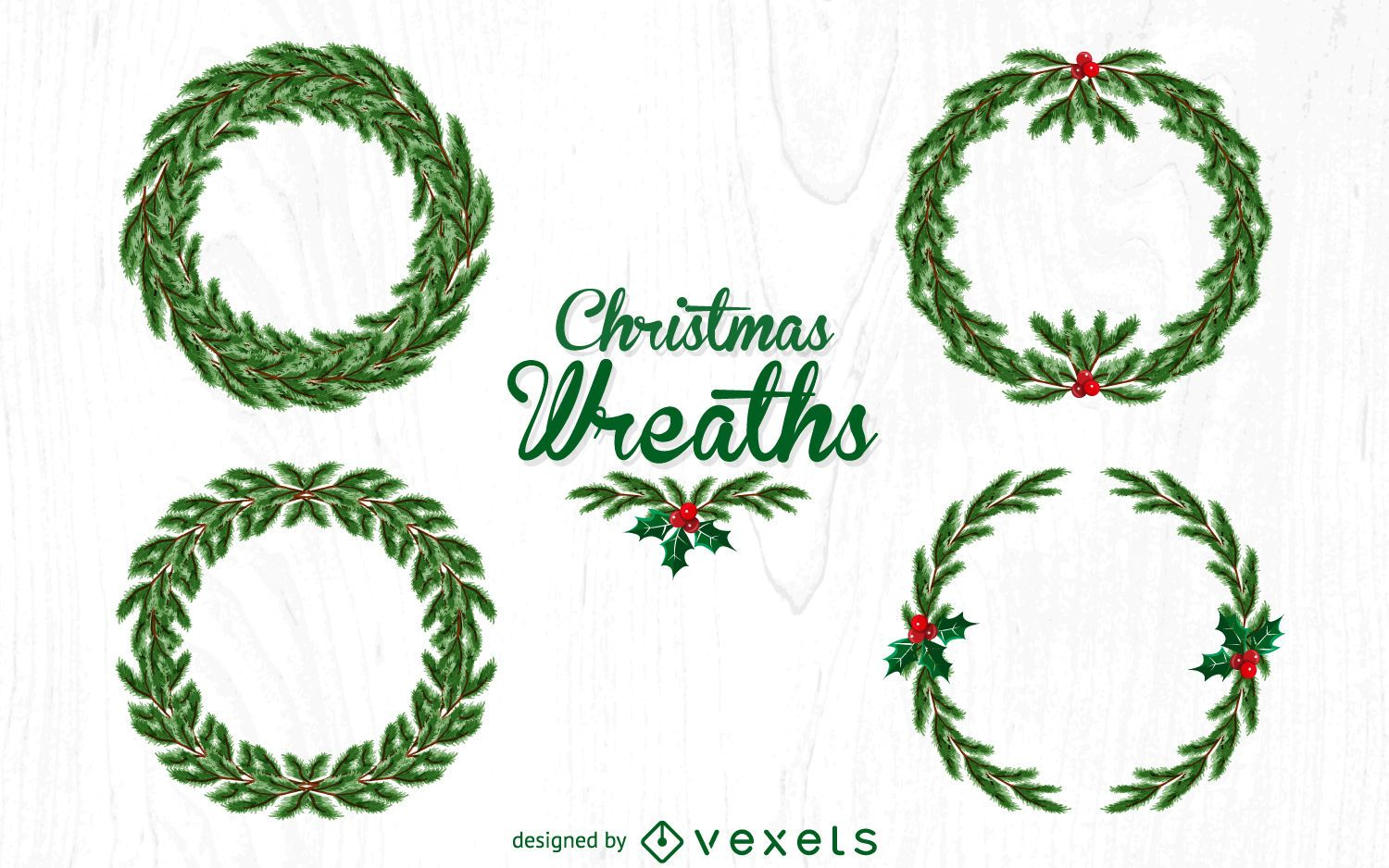 4 Christmas Wreath Illustration Set Vector Download