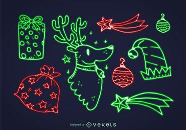 Conjunto de elemento de Natal de néon
