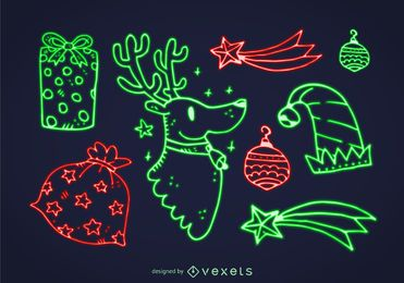Neon Christmas element set