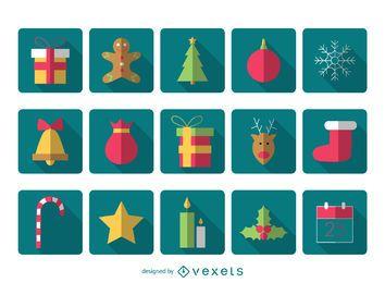 Pack de iconos cuadrados de navidad