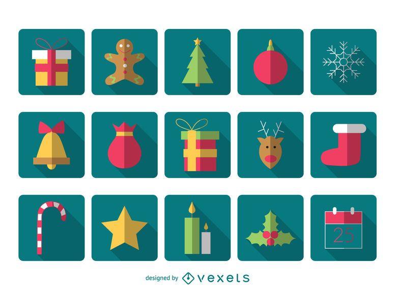 Pacote de ícones quadrados de Natal