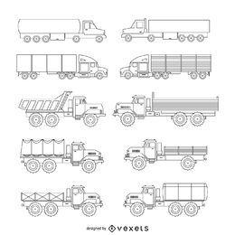 Conjunto de ilustración de camión