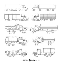 LKW-Illustrationssatz
