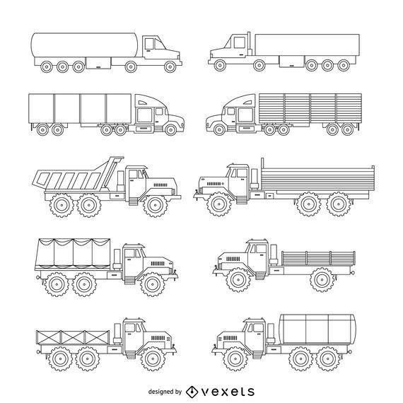 LKW-Illustrationssatz