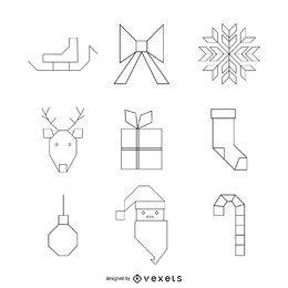 Geometric Christmas icon pack
