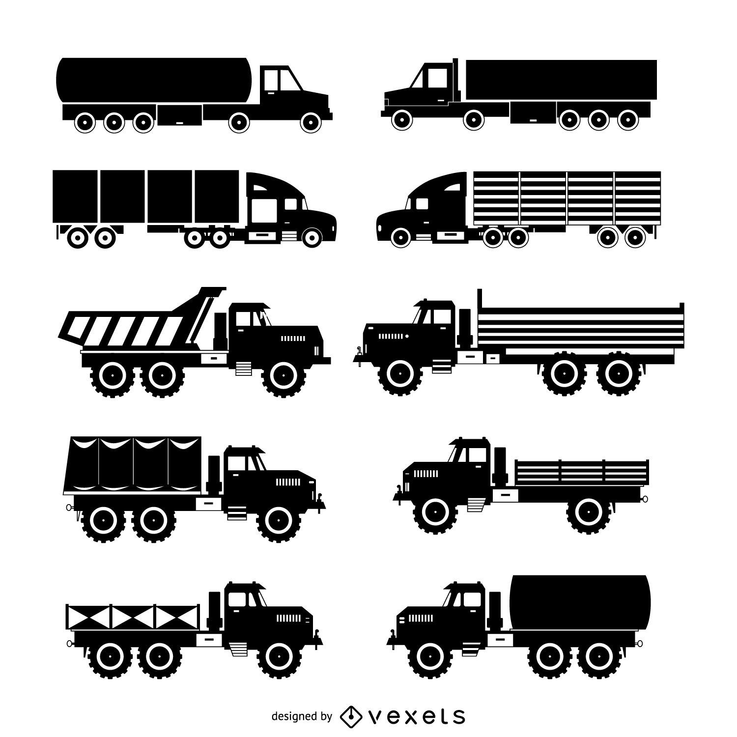 truck silhouette set vector download