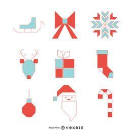 Christmas items icon set