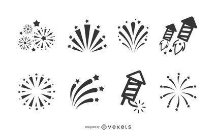 Coleção de ícone de fogos de artifício