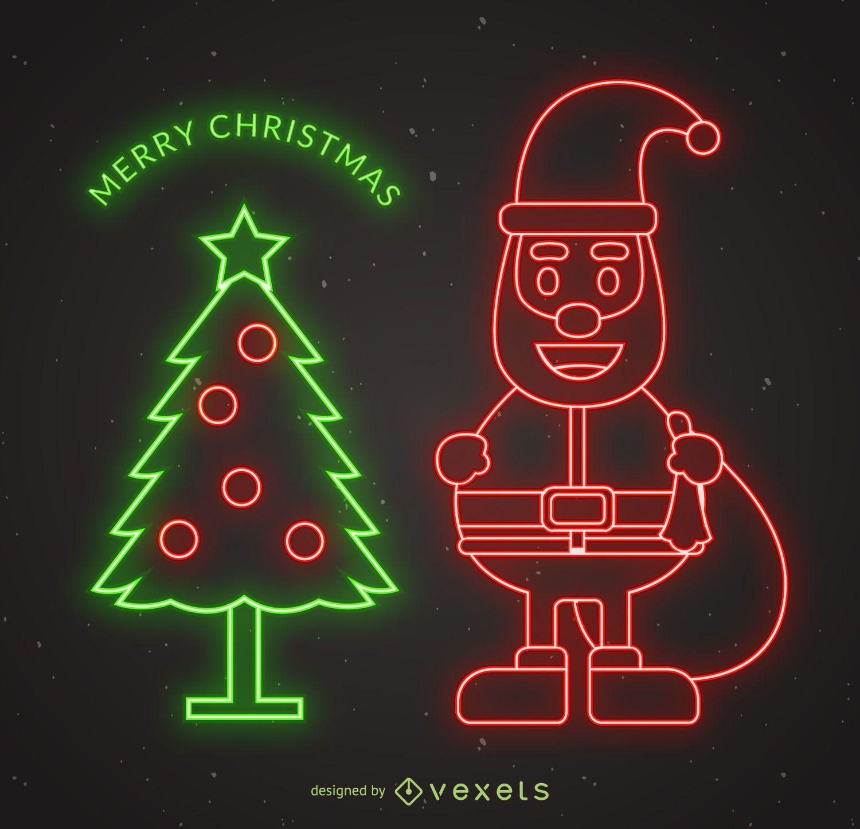 neon santa christmas design - vector download