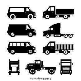 Coleção da silhueta do caminhão