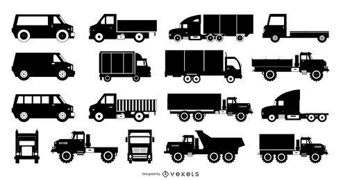 Coleção de transporte de silhueta de caminhão plano