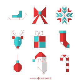 Conjunto de iconos geométricos de Navidad festiva