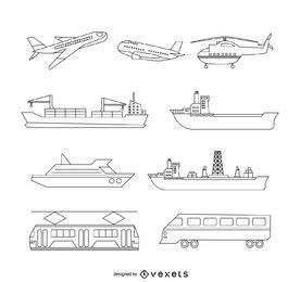 Conjunto de ilustração de transporte