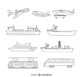Transport illustration set