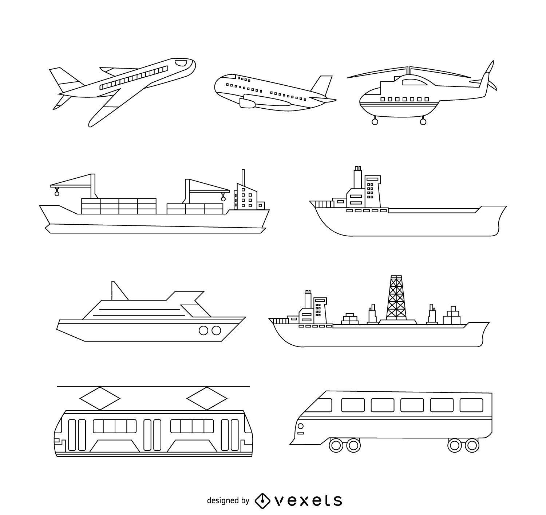 Transport illustration set