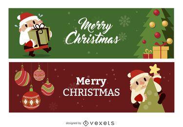 Flat Christmas banner set