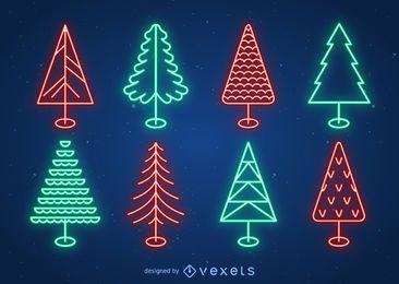 Conjunto del árbol de navidad de neón