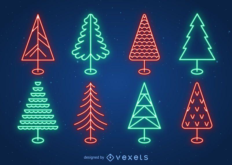 Conjunto de árbol de navidad de neón