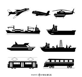 Conjunto de silhueta de transporte