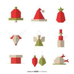 Conjunto de iconos de Navidad plano geométrico
