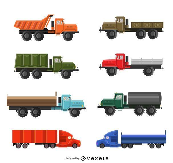 Conjunto de ilustración de camión plano