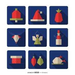 Christmas geometric square icon collection
