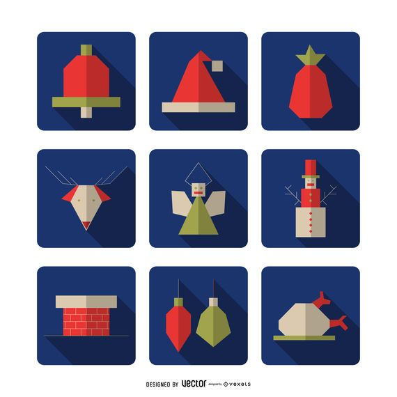 Colección de iconos cuadrados geométricos de Navidad