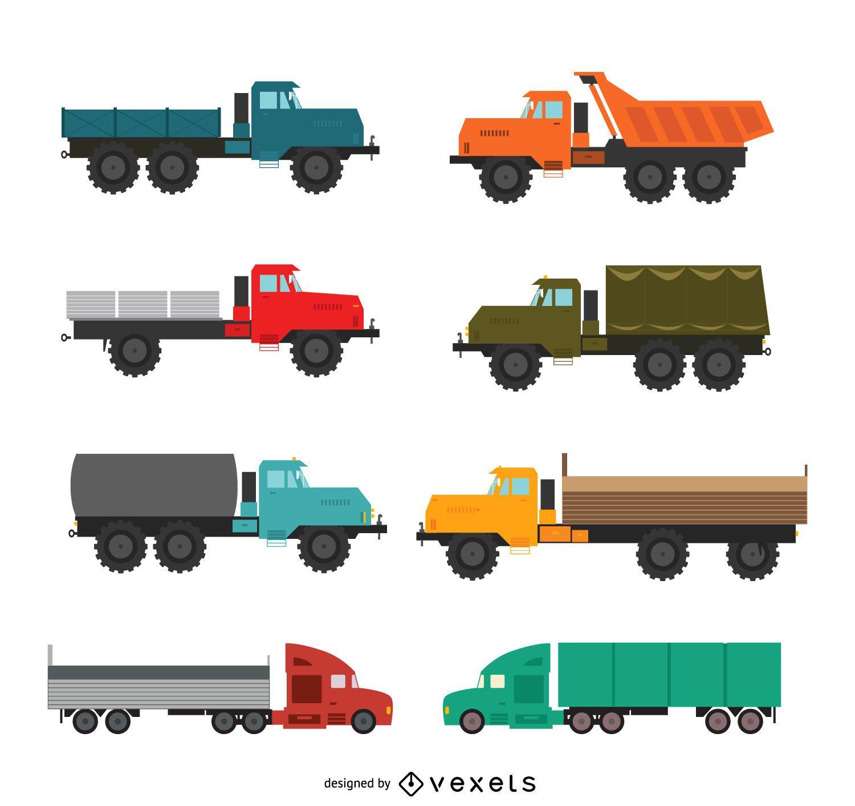 Colecci?n de ilustraciones de camiones planos