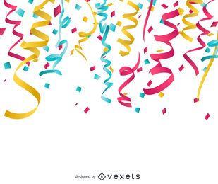 Fitas de confetes coloridos e papel